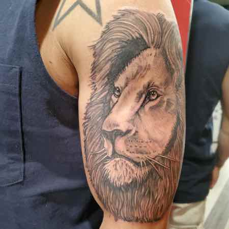 Lion tattoo on man's bicep - left view.
