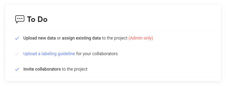Suite의 프로젝트 Overview의 To Do 섹션
