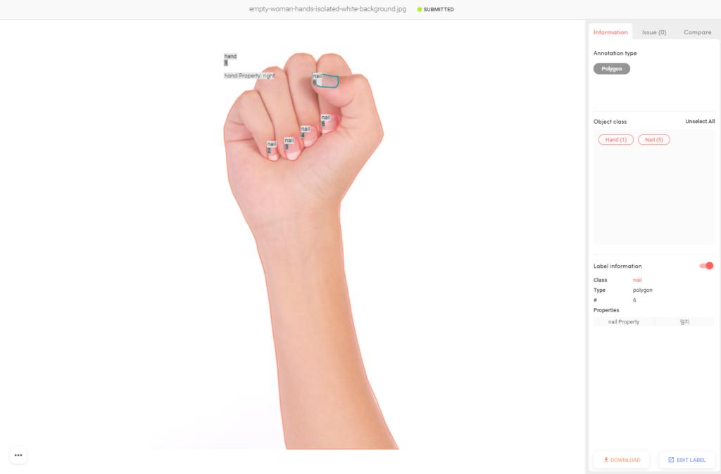 '손' 이미지 데이터 라벨링 예시