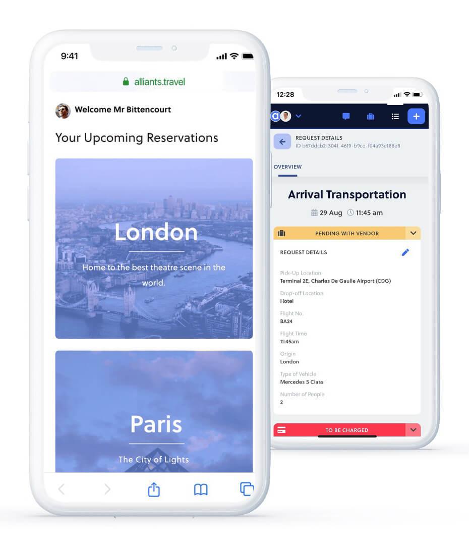 Alliants mobile digital itinerary home screen