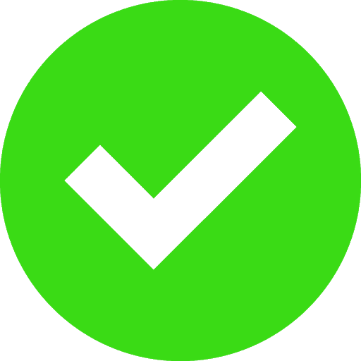 Green circle with a checkmark in the middle