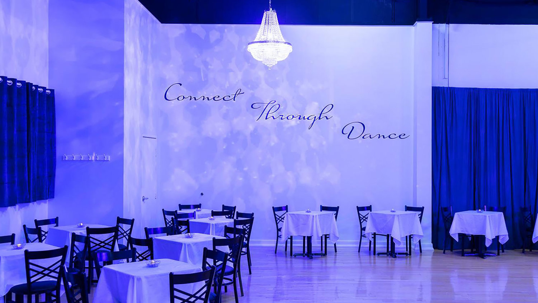 mood lighting in the crystal ballroom dance center