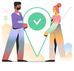 Illustration of two people holding a green check mark