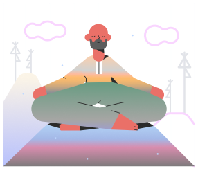 Illustration of a man in a yoga pose