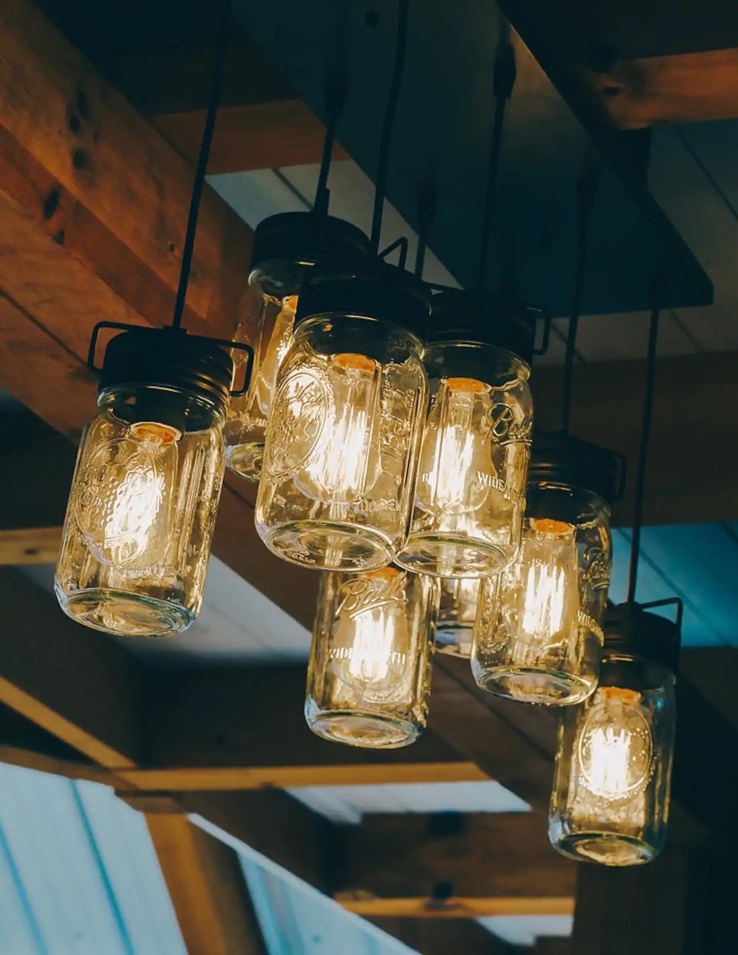 Tennessee Homemade Wines Airbnb mason jar lodge lights