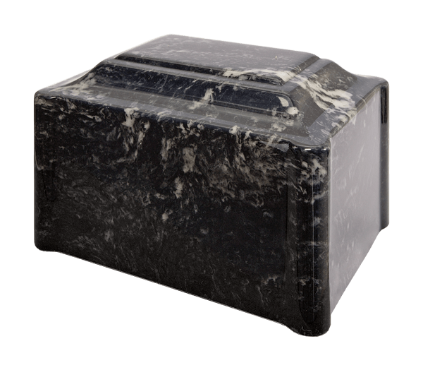 Single Urn in Black Pearl, black and deep charcoal tones with soft gray and white veins