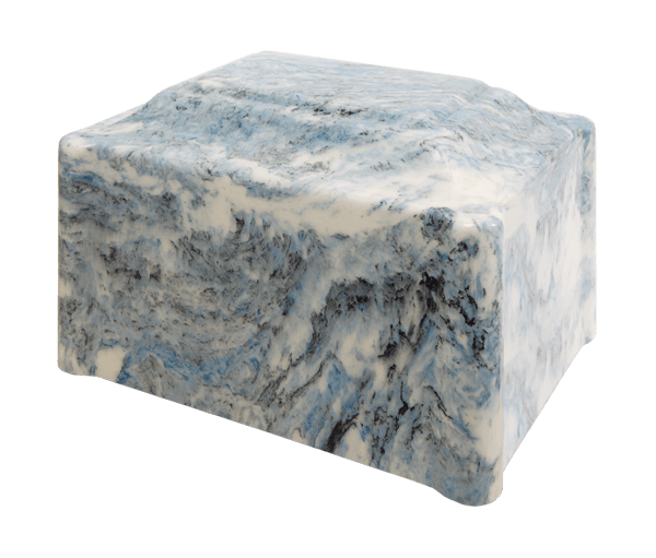 Single Urn in Sky Blue, soft and medium blues with white and black veins