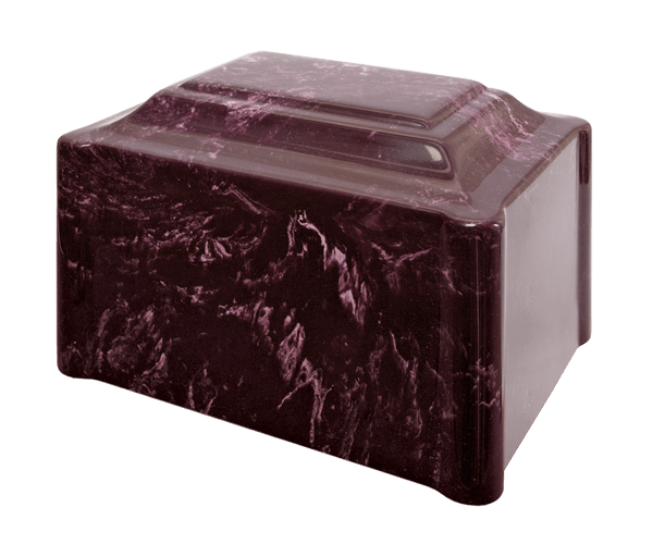 Single Urn in Summer Rose, dark burgundy red with understated white veins