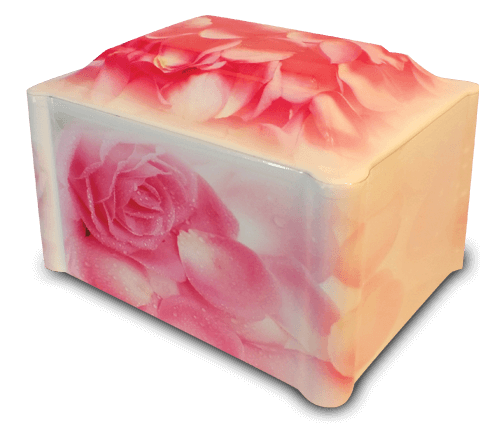 Our Petals of Peace vinyl-wrapped urn showcases a beautiful array of blush pink roses and petals throughout the design. A very popular choice for those afflicted by breast cancer.