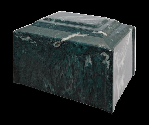 Diamond Corner Single Urn in Emerald - deep evergreen with white and medium green veins