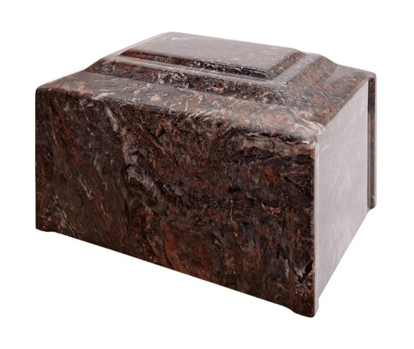 Diamond Corner Single Urn in Ruby - deep brown red with medium tones and white and black veins