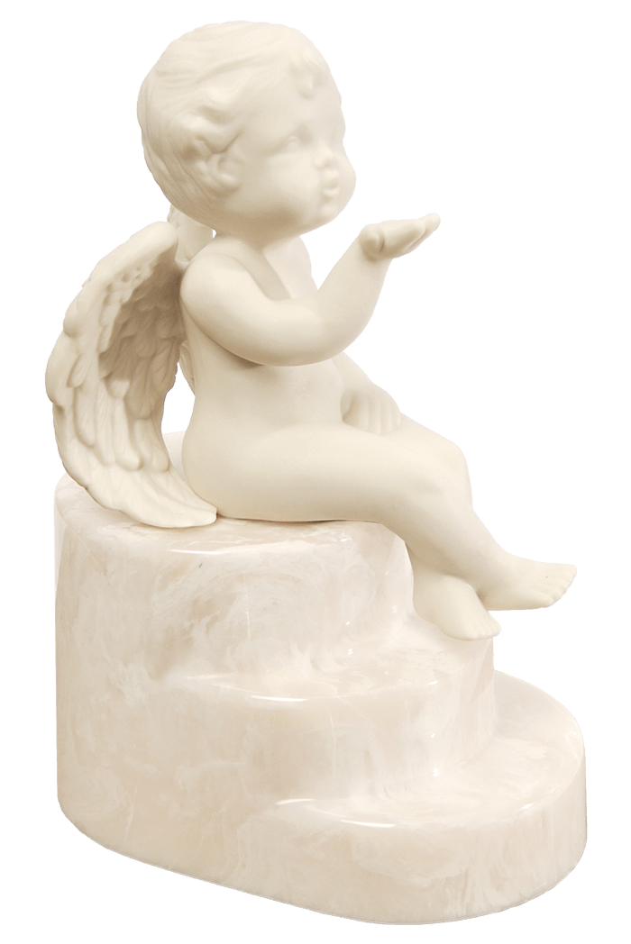 Cherub urn in Angel Blush, soft beige and white tones