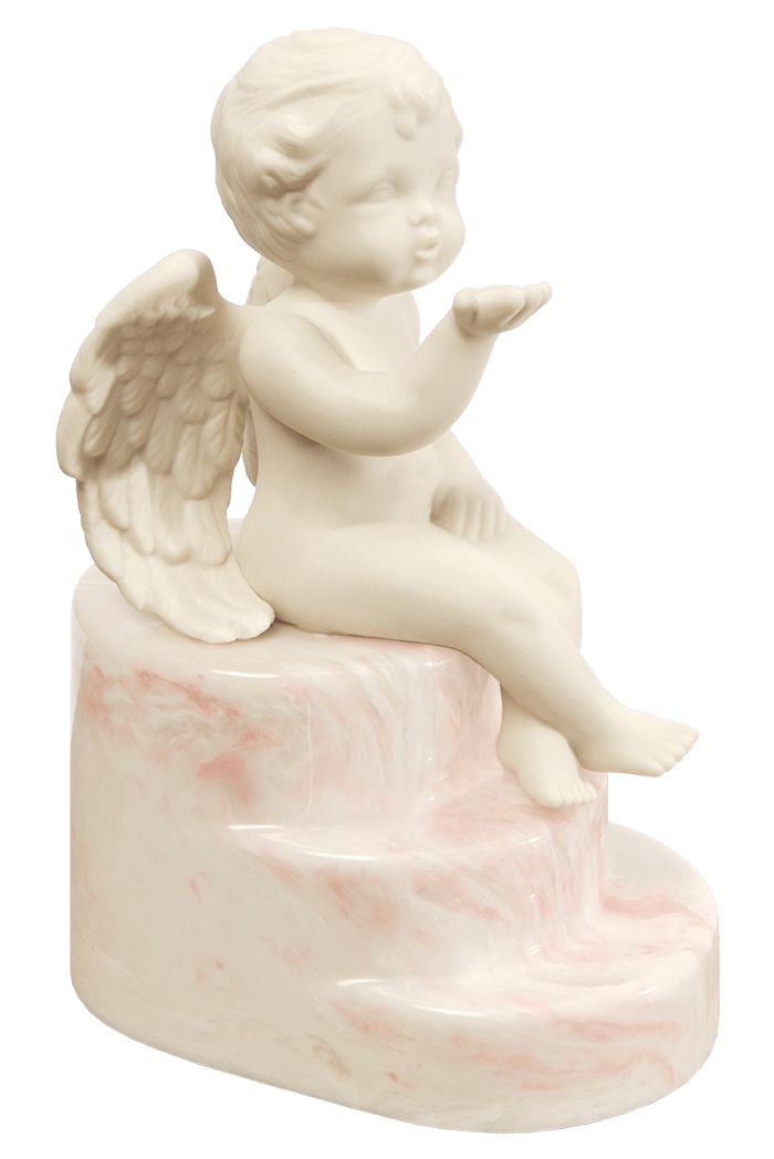 Cherub urn in Cherub Rose, soft pink and white tones