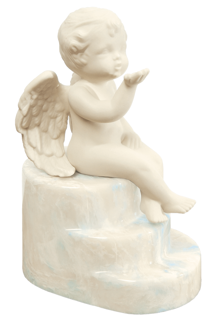Cherub urn in Rising Cloud, soft blue, beige and white tones