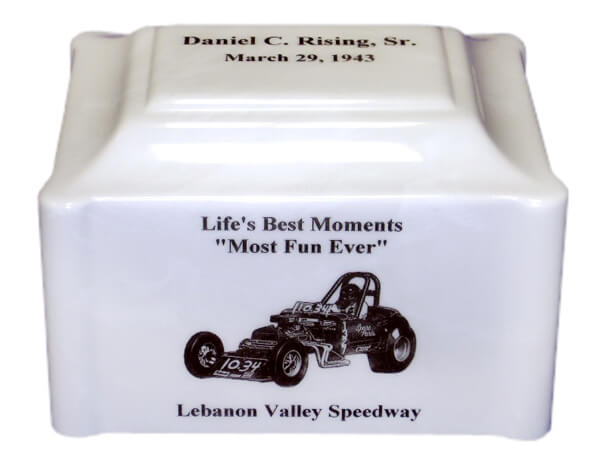 Single White Pearl Urn with a race car on it