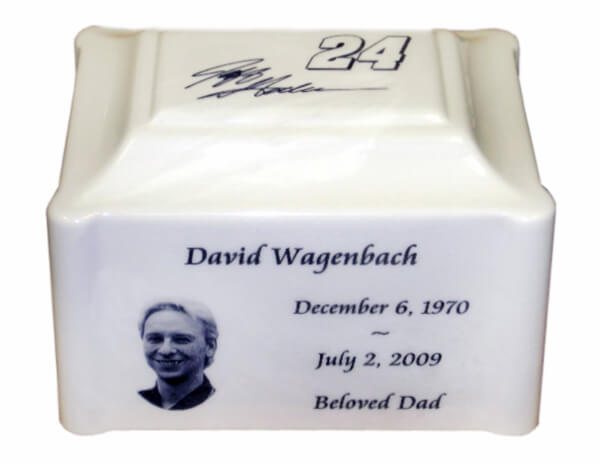 Single White Pearl Urn with a photo of the deceased on it