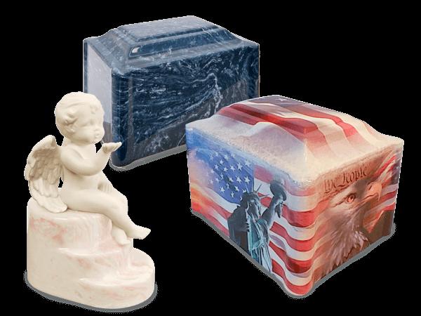 Cherub Rose urn, Ocean Breeze single urn and American Honor vinyl wrapper urn display