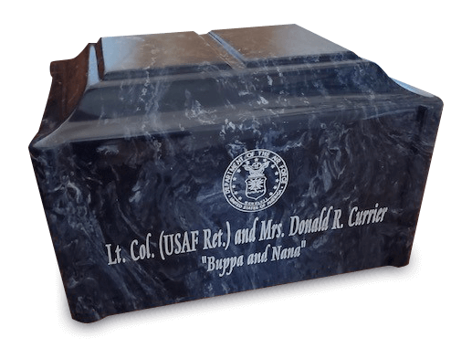 Custom single chamber urn in companion style with personalized engraving in Ocean Breeze