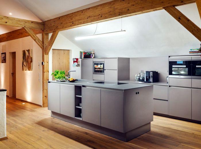 Küche eines fertigen HolzLehmMassivhauses