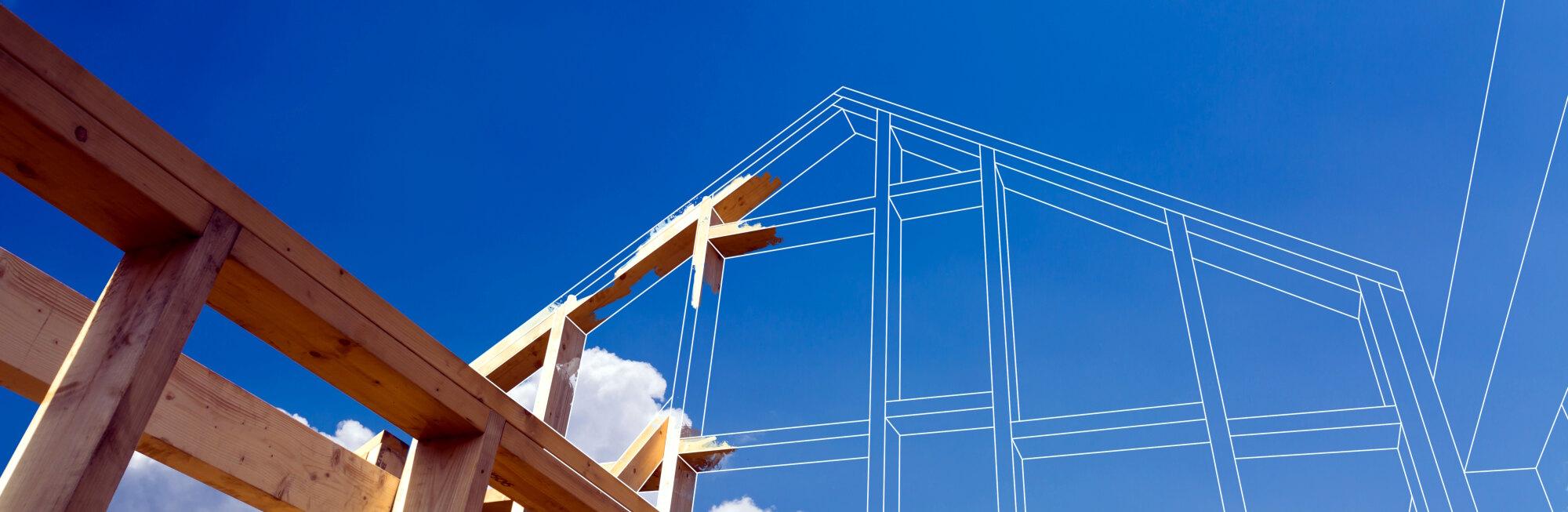 Ein HolzLehmMassivhaus während der Bauphase