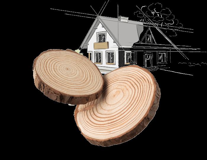 Holz mit einem illustierten Haus im Hintergrund