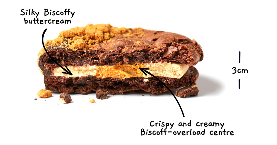 Image of a biscoff brownio from the side, cut in half with the words Silky Biscoffy buttercream. Crispy and creamy Biscoff-overload centre. There is a vertical measurement line with a label showing the brownio to be 3 centimeters in depth.