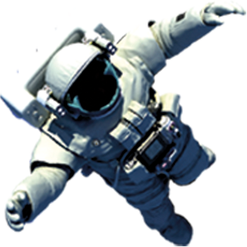 An image of an astronaut in their vacuum suit floating up the page as if in space.