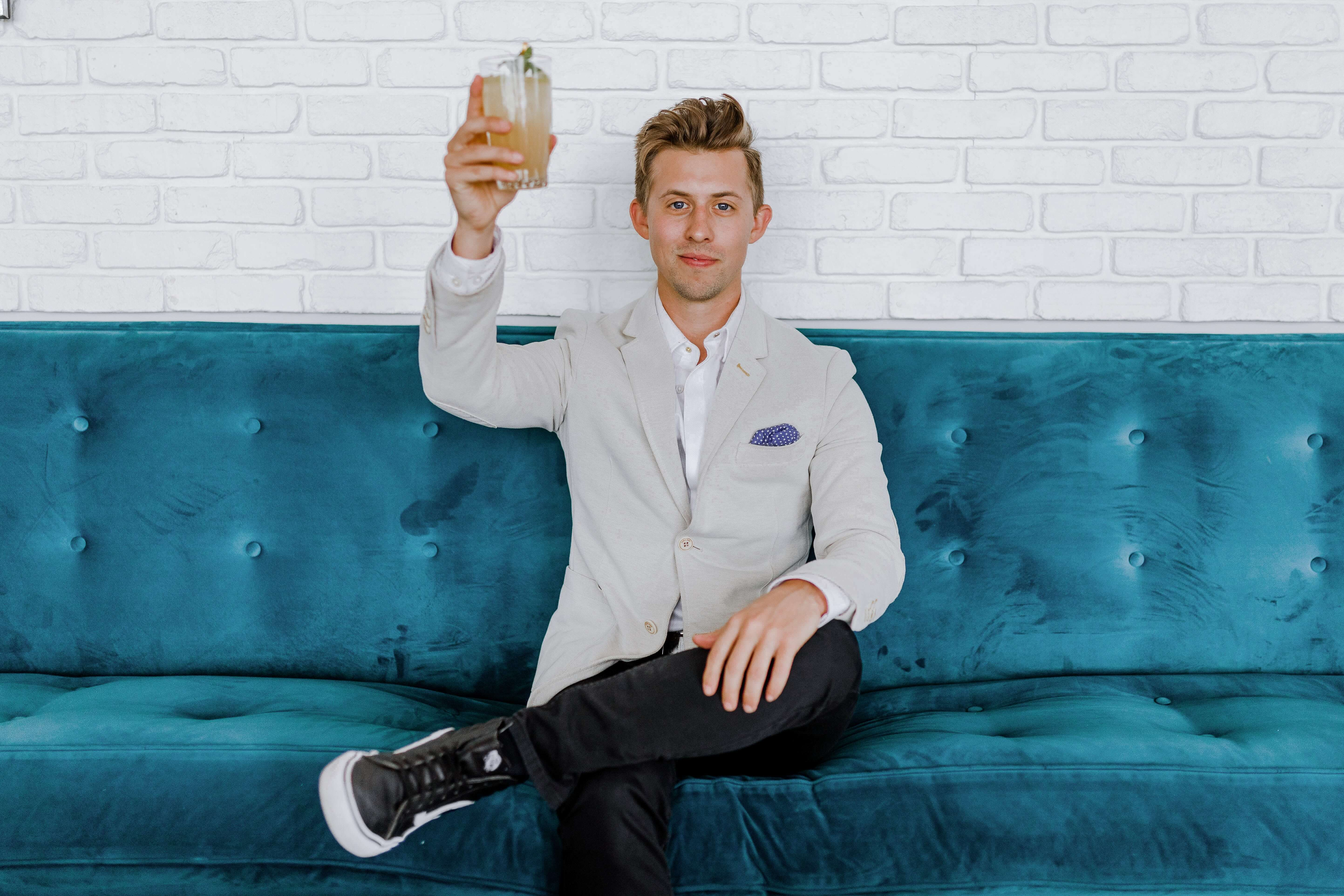 Man toasts to his new digital marketing agency