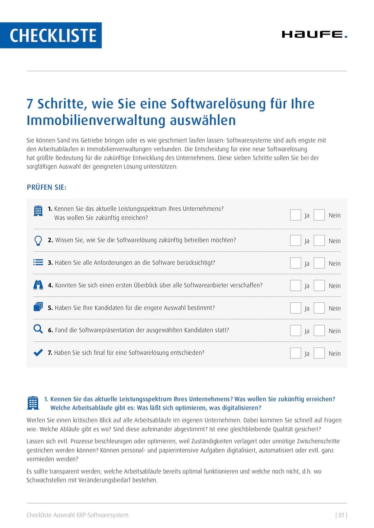 Die sieben Fragen zur richtigen Softwareauswahl als Checkliste