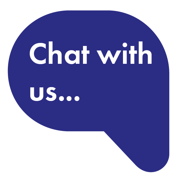 blue speech bubble with white text that says 'chat with us...'