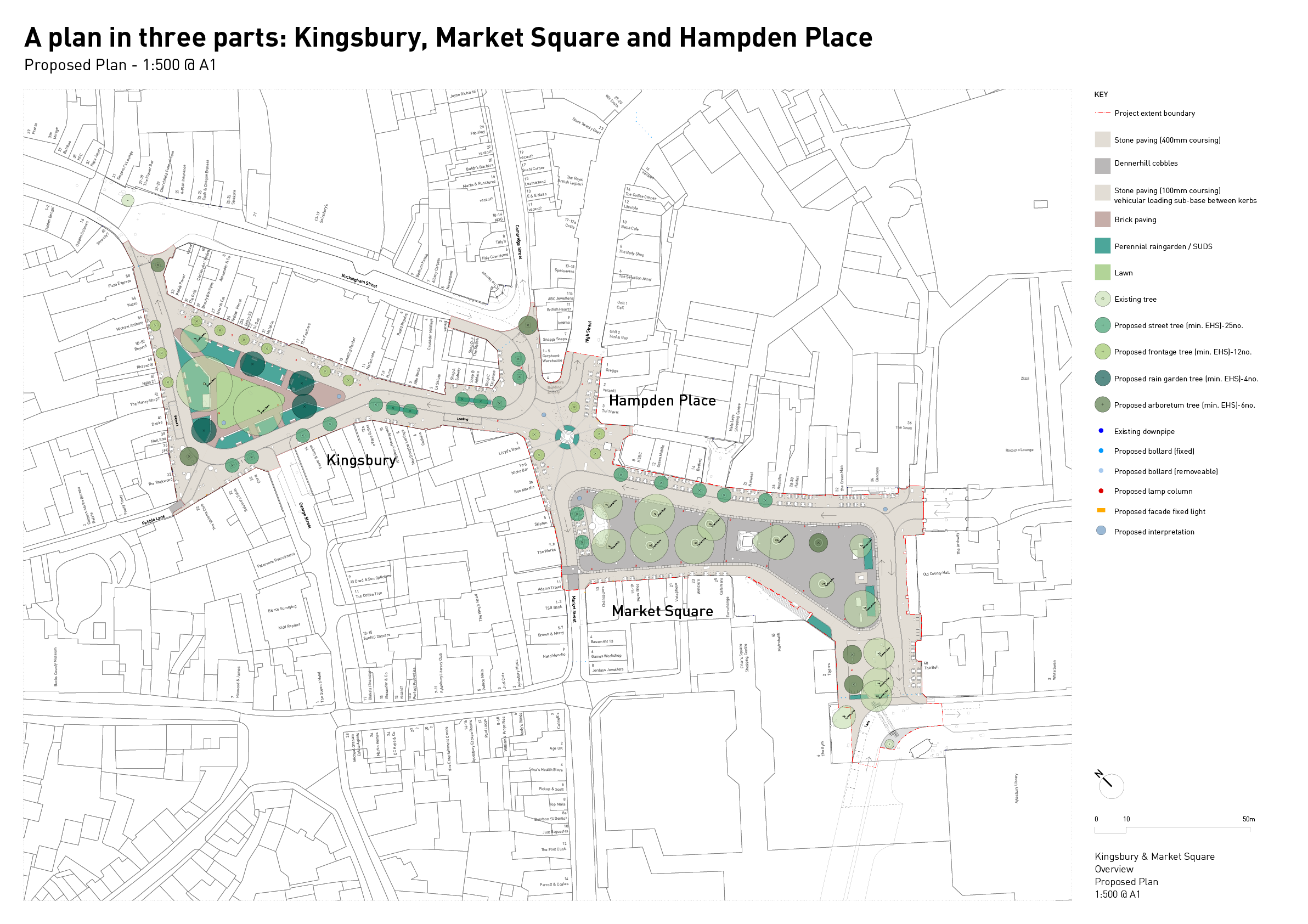 Overview plan of Kingsbury, Market Square and Hampden Place