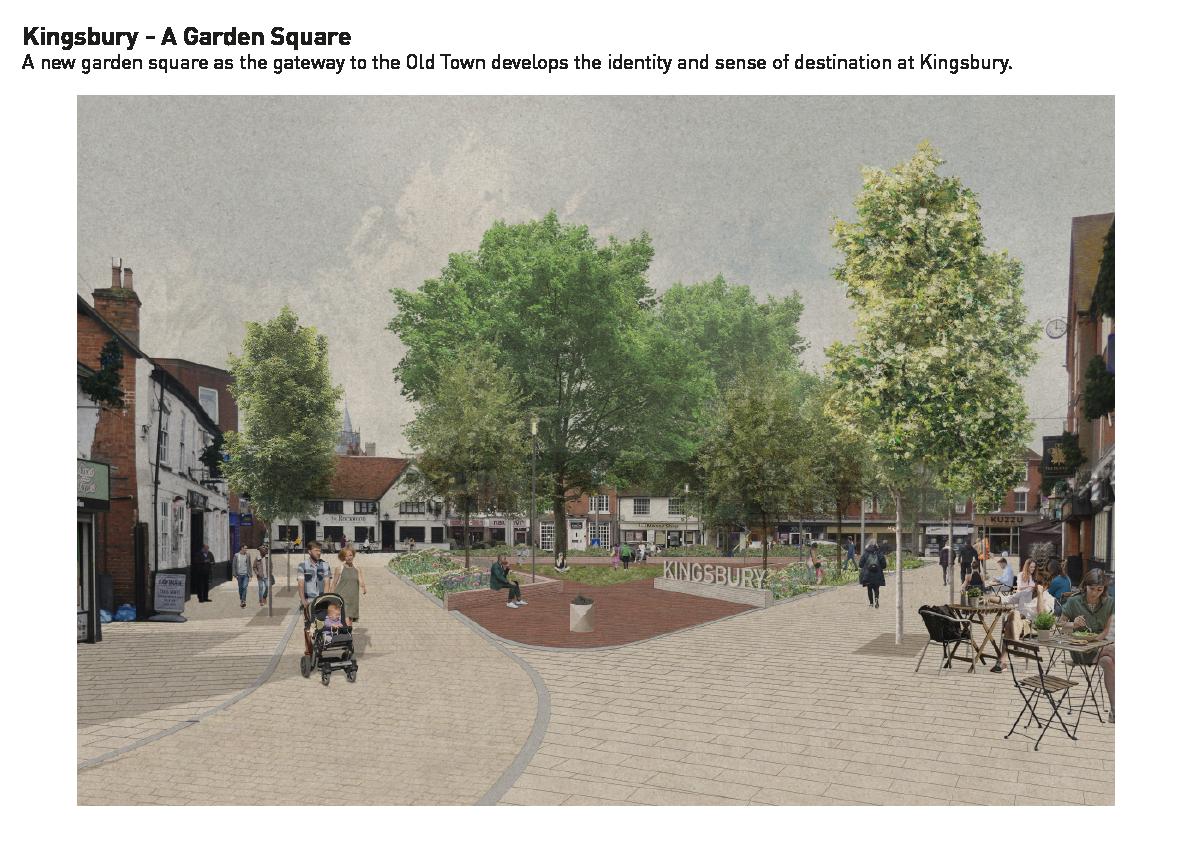 Artist's impression of Kingsbury Garden Squarethe proposal for Kingsbury