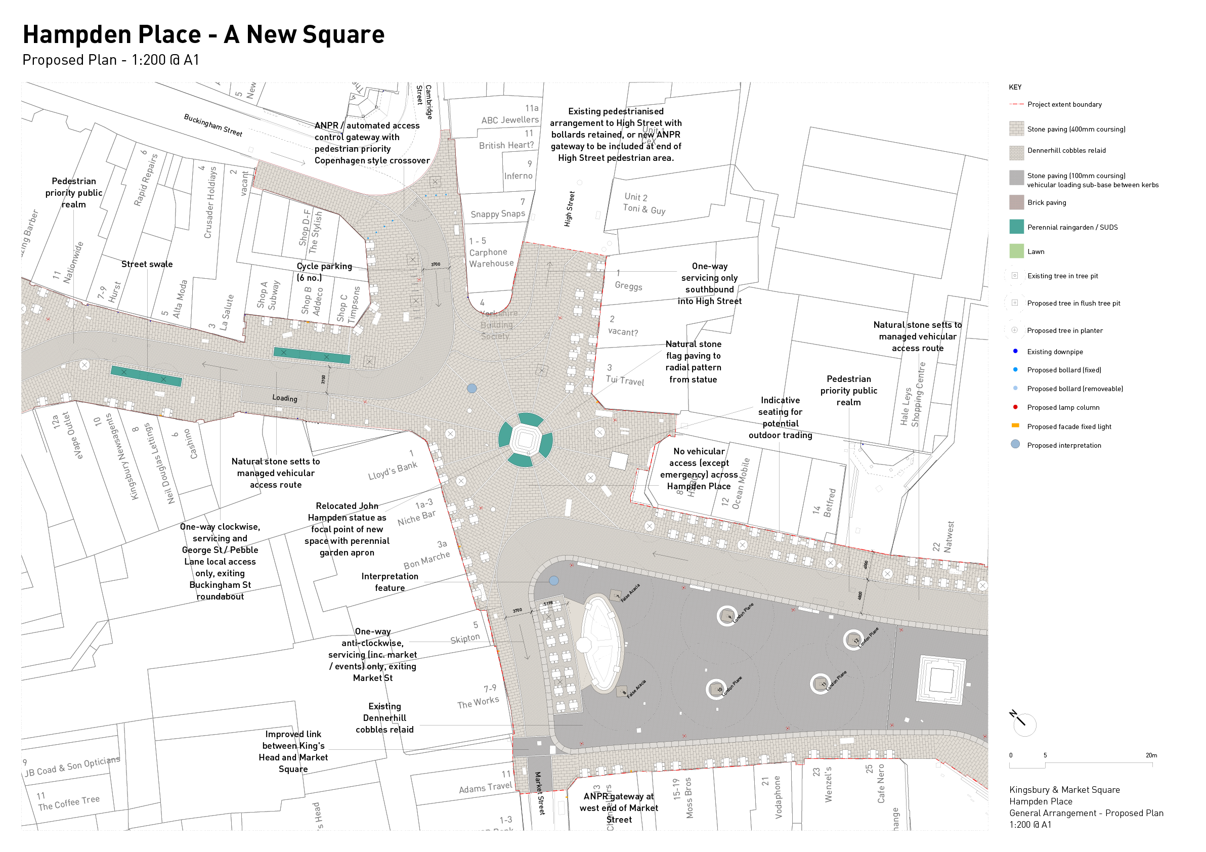 Detail plan of of the proposals for Hampden Place