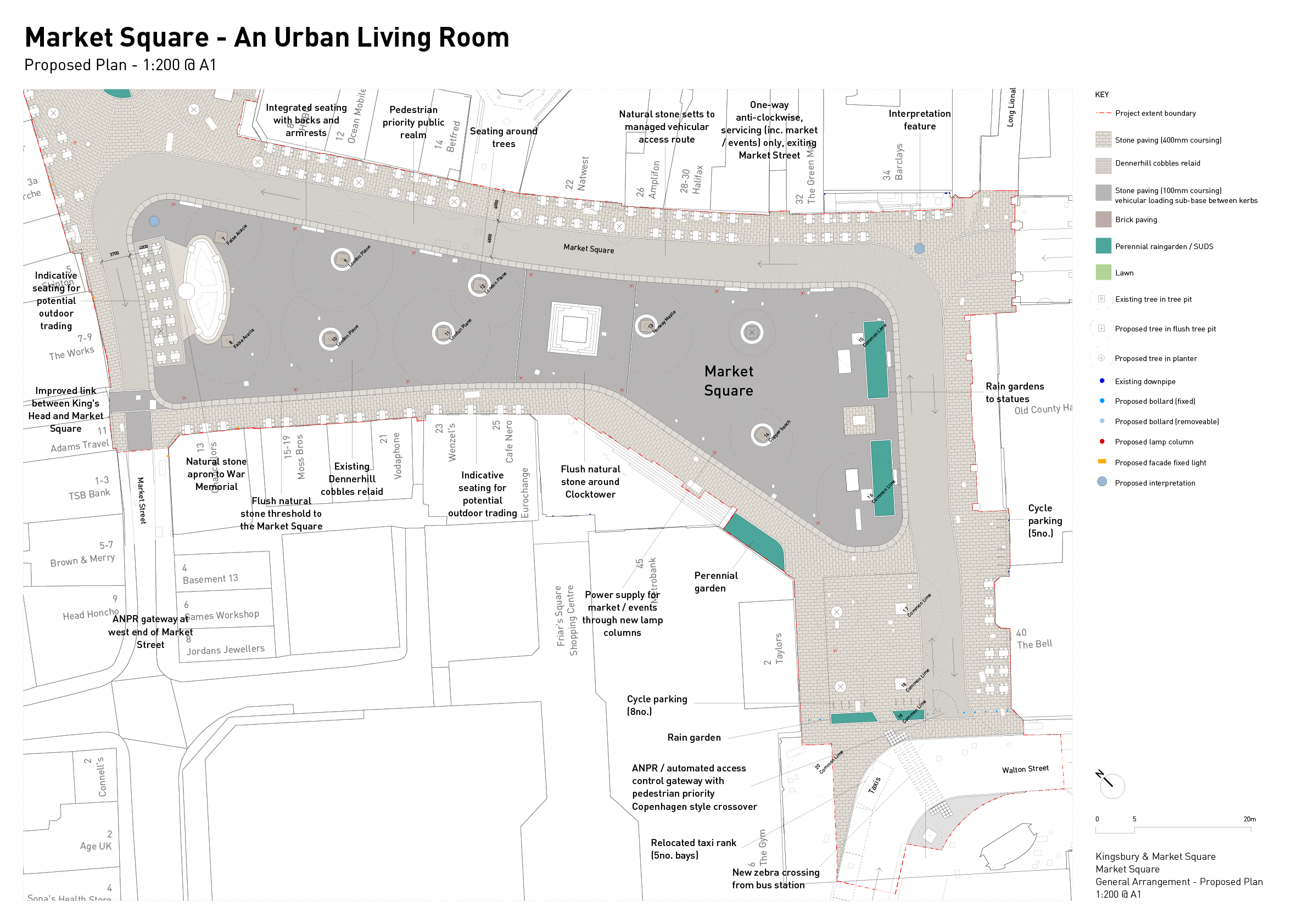 Detail plan of the proposals for Market Square