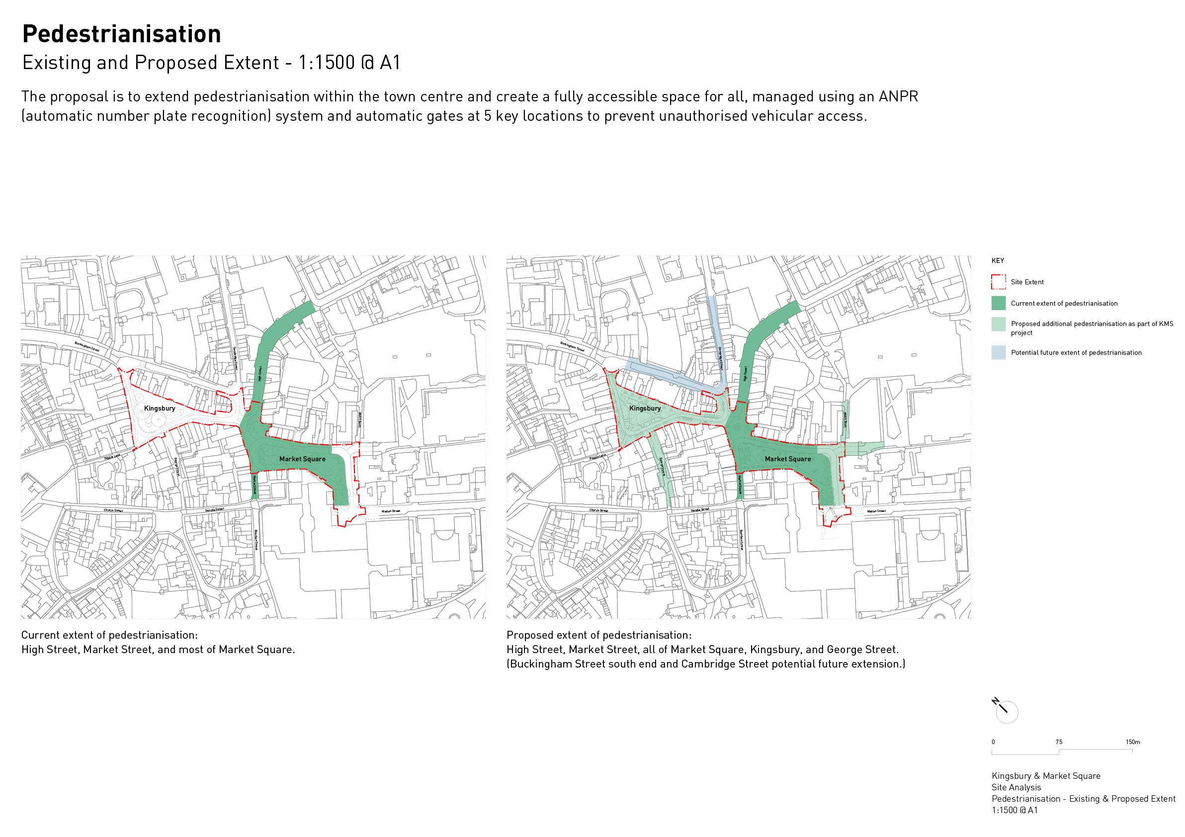 Plans showing the existing and proposed pedestrianisation extents