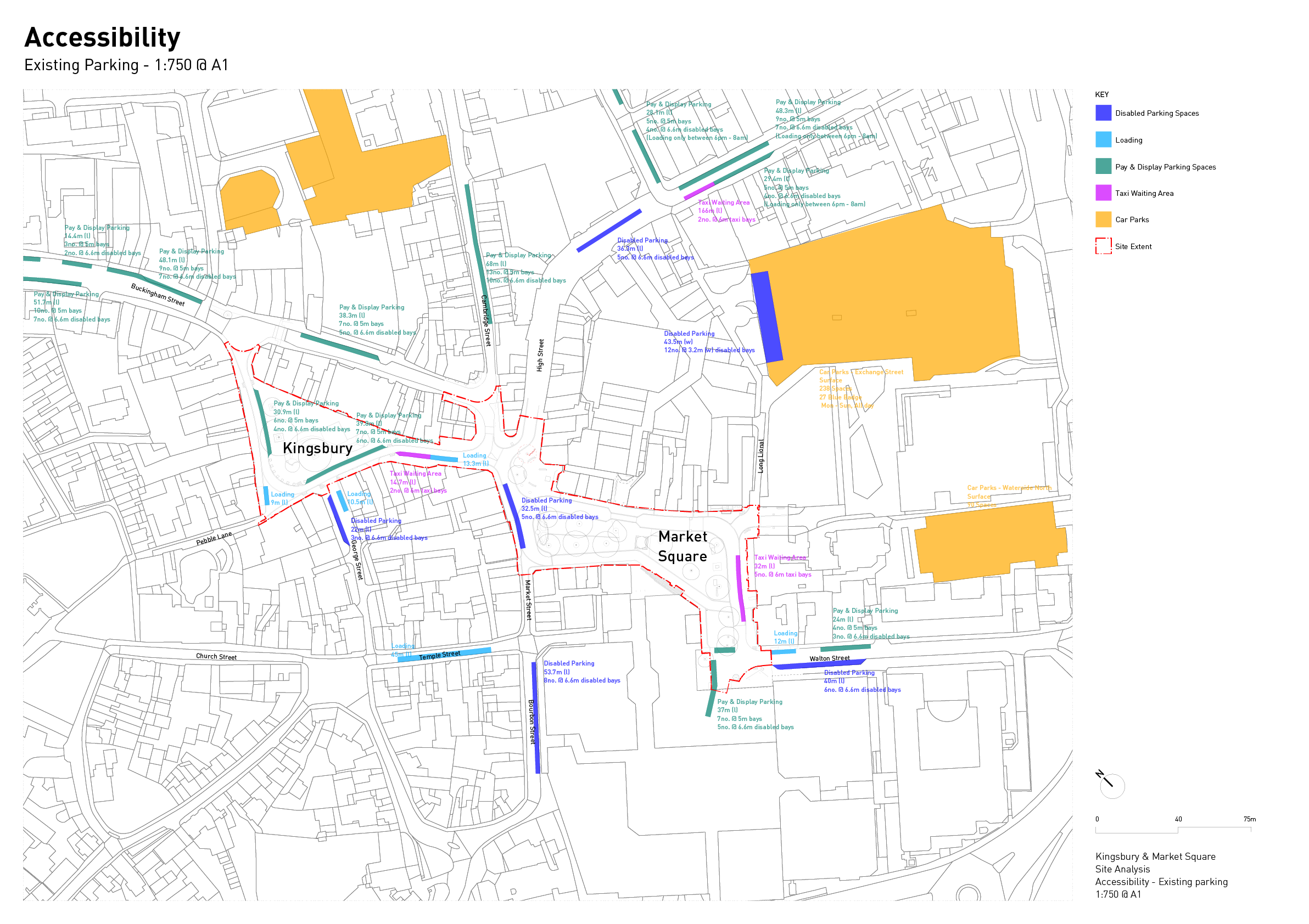 Plan diagram showing the existing parking provision in and near to the site areas