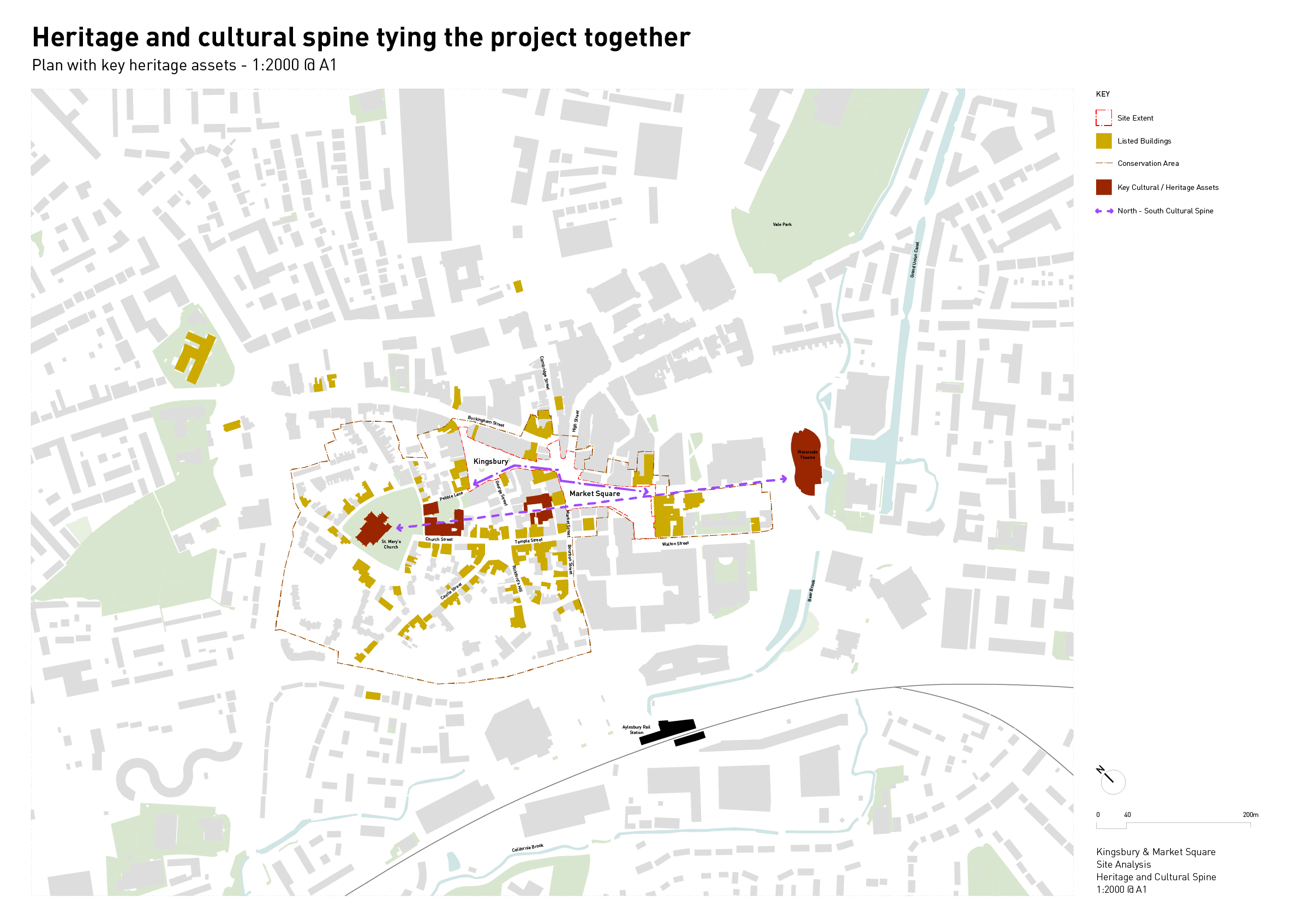 Diagram showing a heritage and cultural spine running N-S through Kingsbury and Market Square