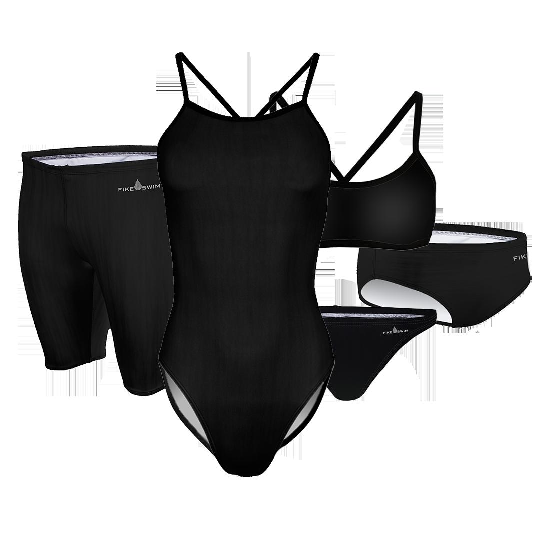 Boring Black competitive swim training suit