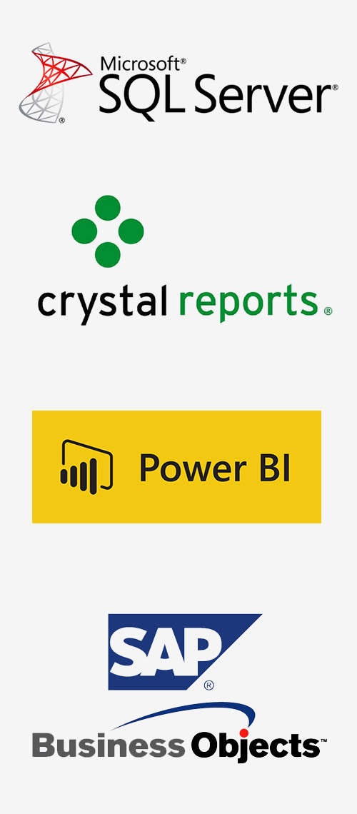 Logos of Microsoft SQL Server, Crystal Reports, Power BI and SAP.