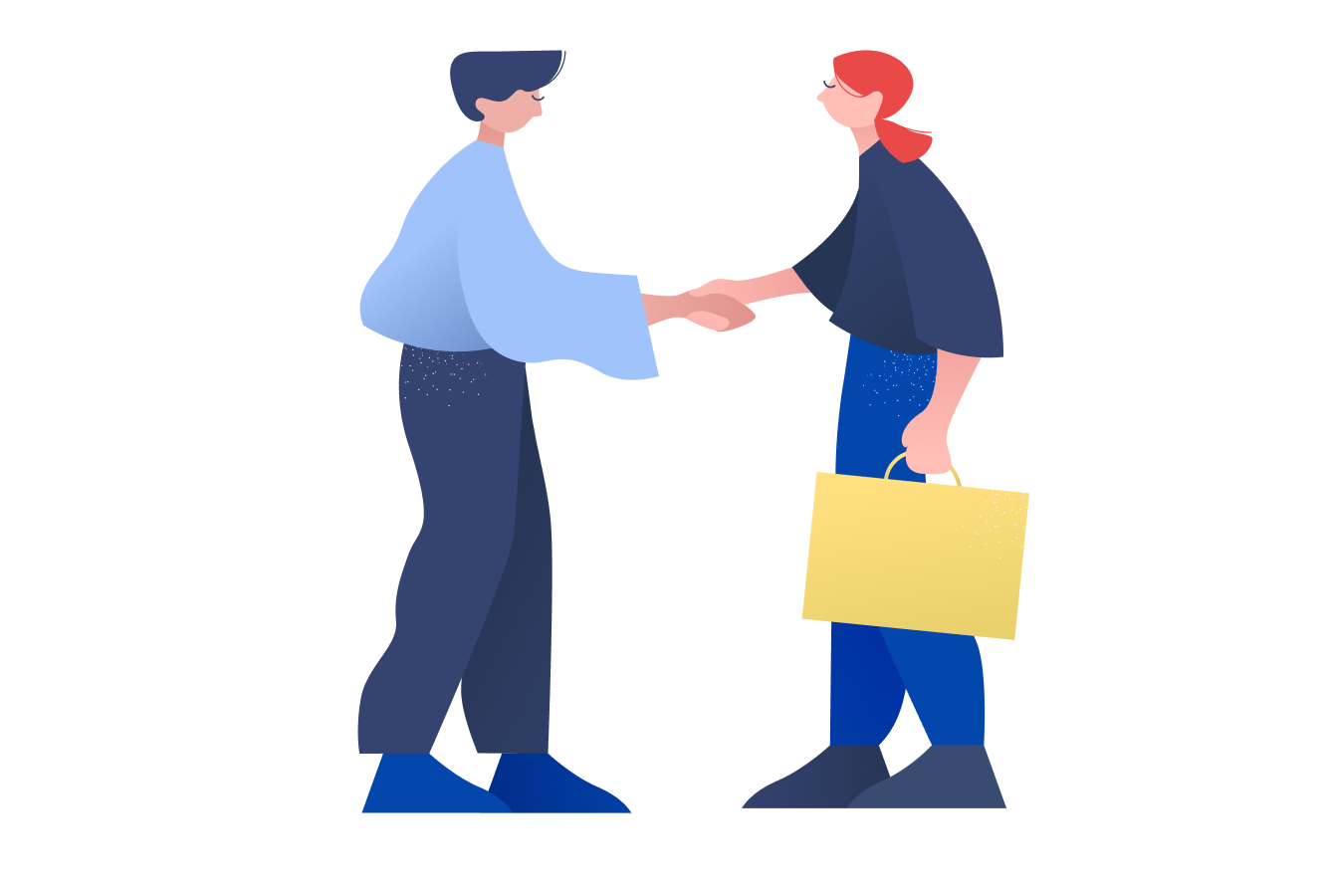Two workers shaking hands.