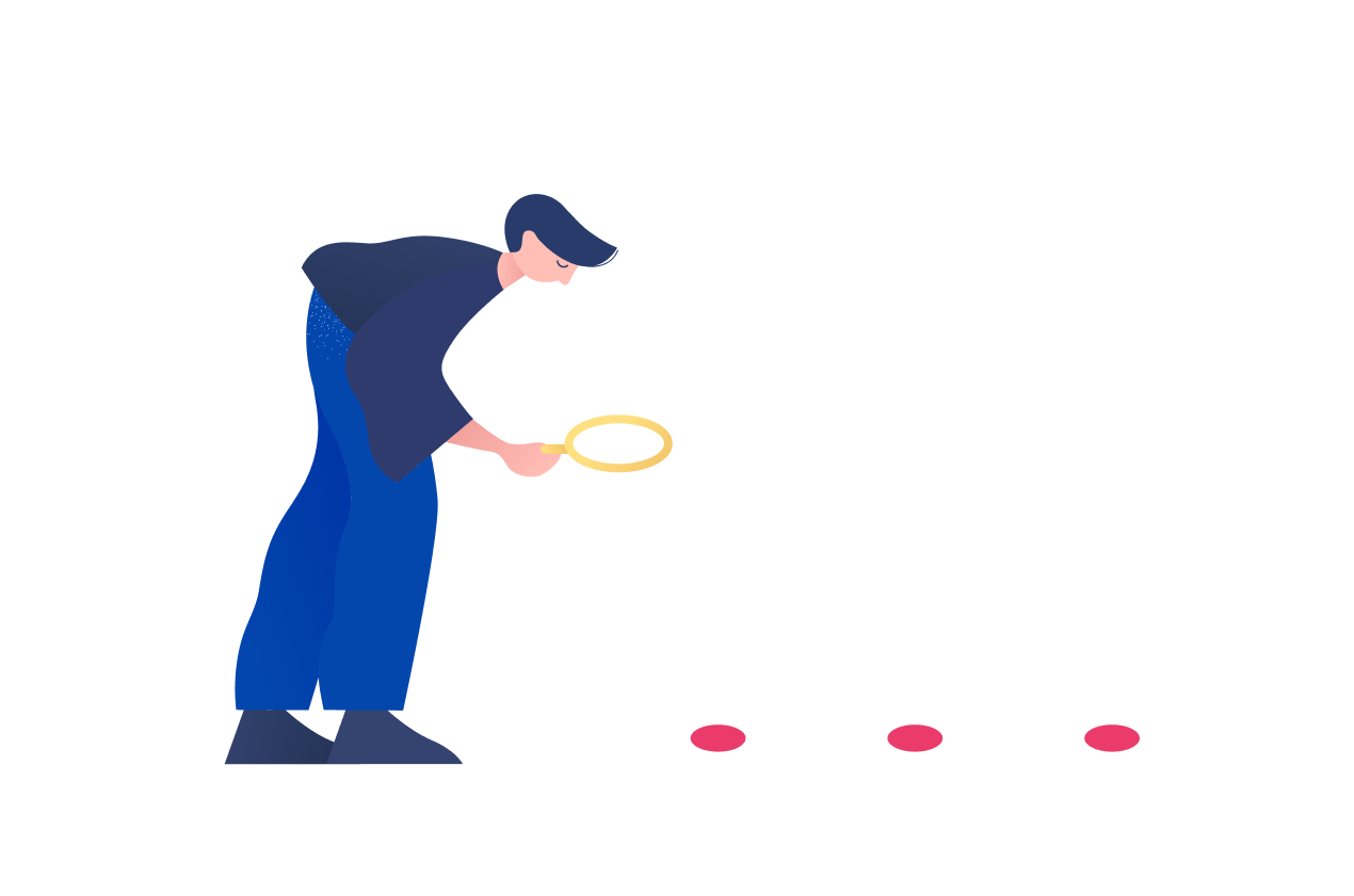 Illustration of person with a magnifying glass exploring three clues.