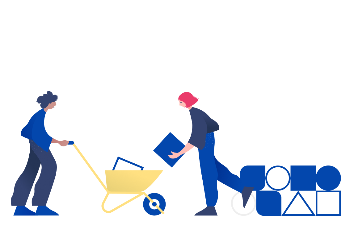 Two people placing ideas into a wheel barrel.