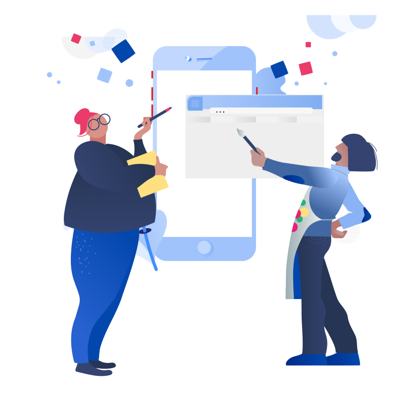 Abstract illustration of two people collaborating on design of a screen over a mobile device.