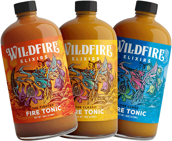 Lineup of featuring the Fighter, Classic, and Lungs fire tonic product images