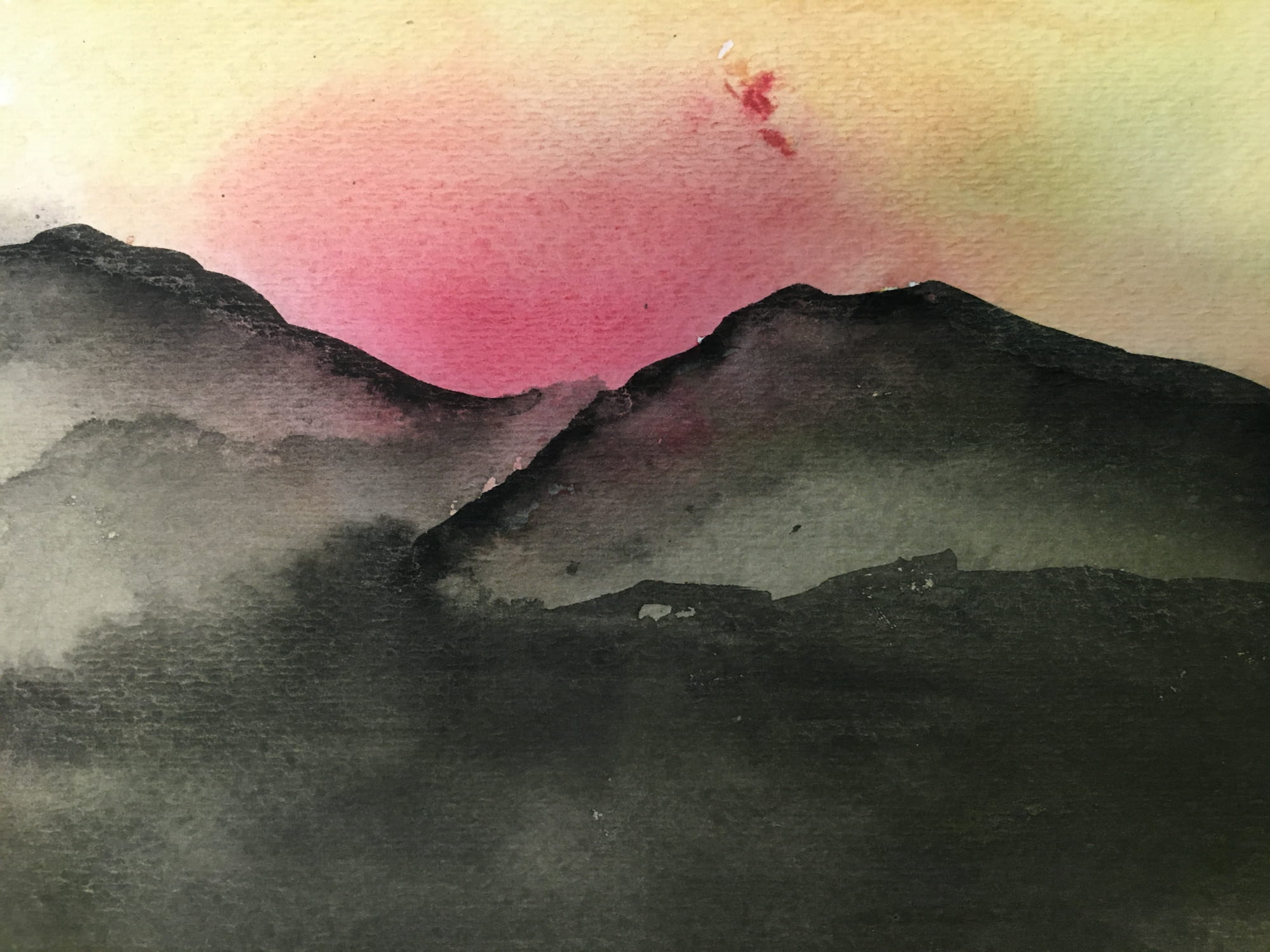 Water color of a sunset and a mountain - work by Levi David Keen
