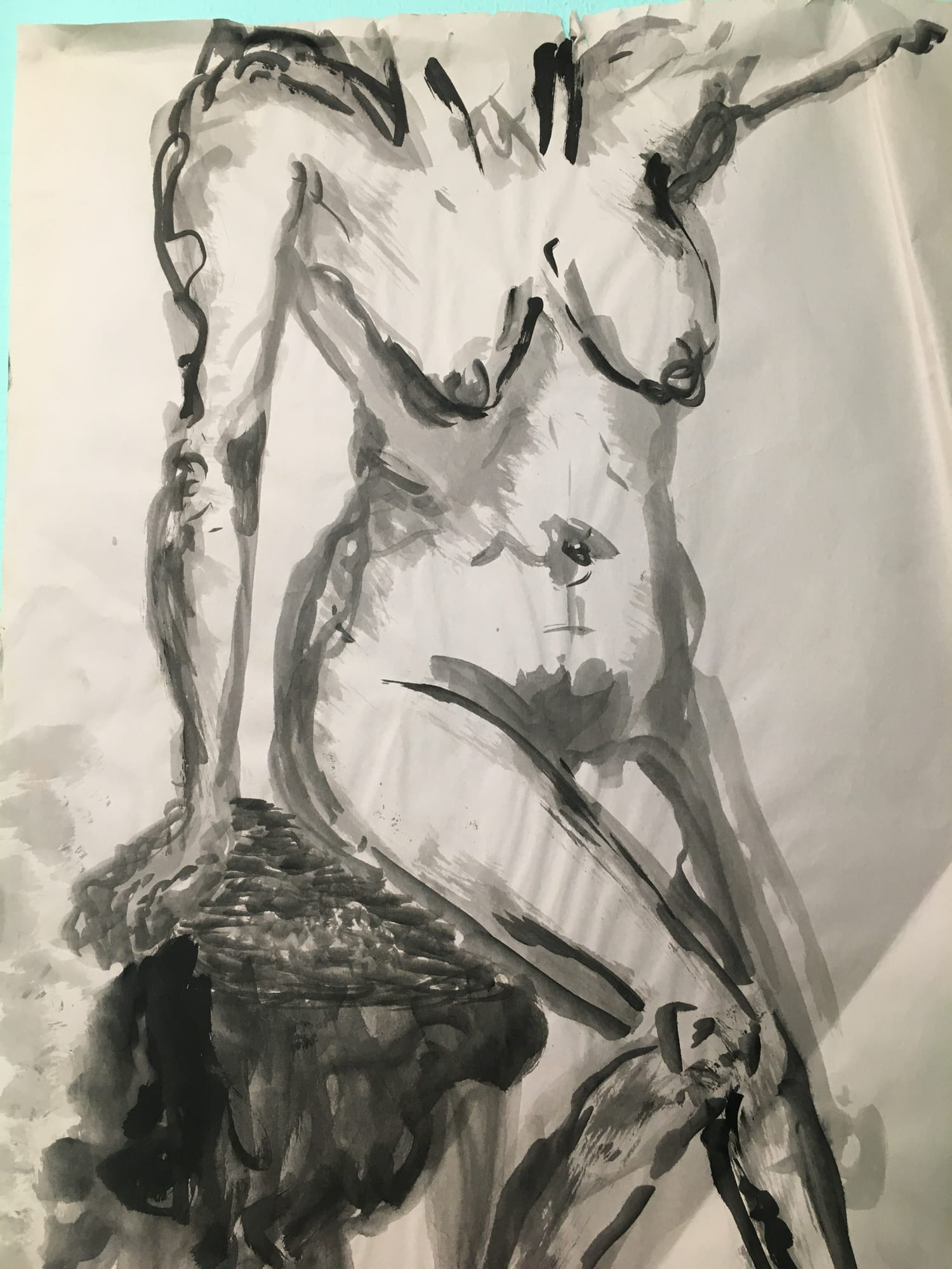 Ink wash figure drawing - work by Levi Keen