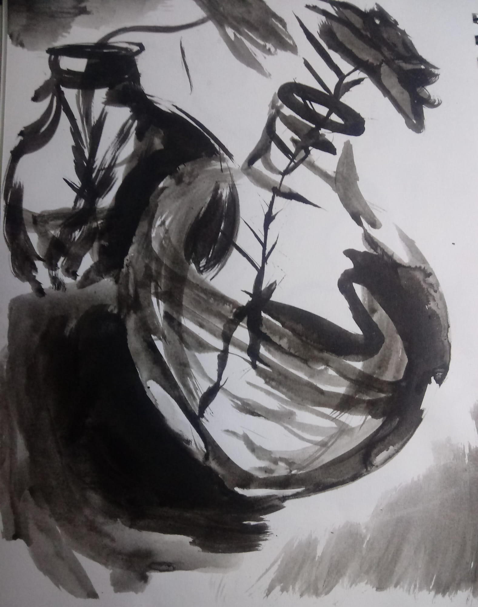 A ink painting of a flower and its shadow, a work by Cherysh White