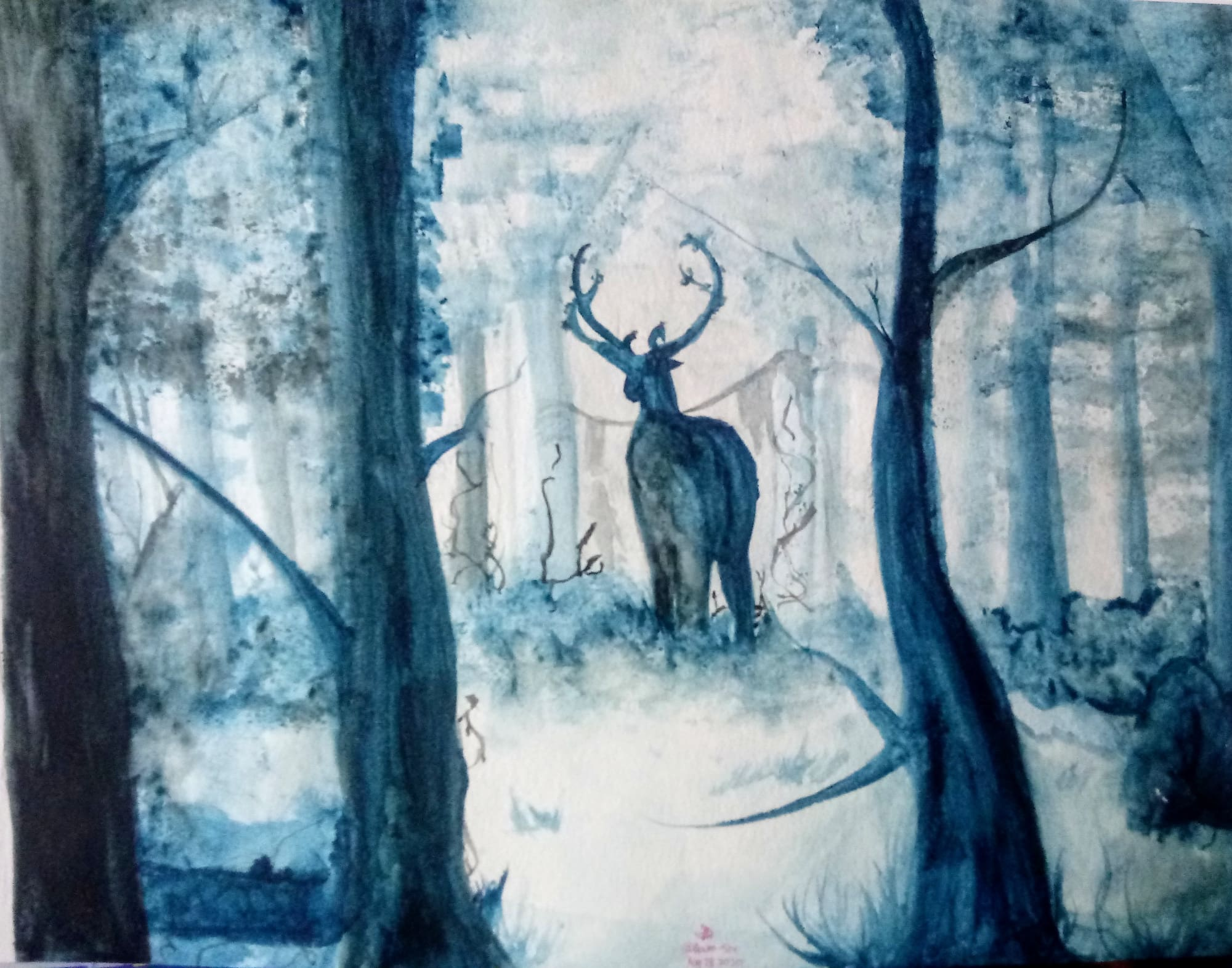 Water color of a deer in a forest in blues and shades of blue, work by Cherysh White