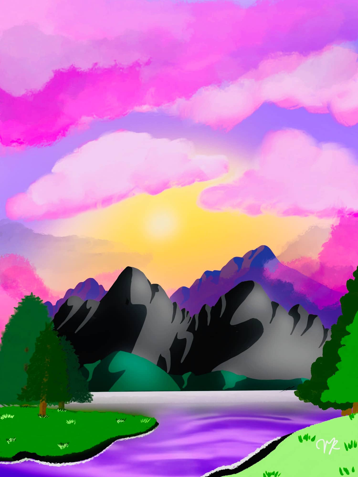 Digital painting of a mountain and river with a pink and purple sky, work by Victoria A Rapoza