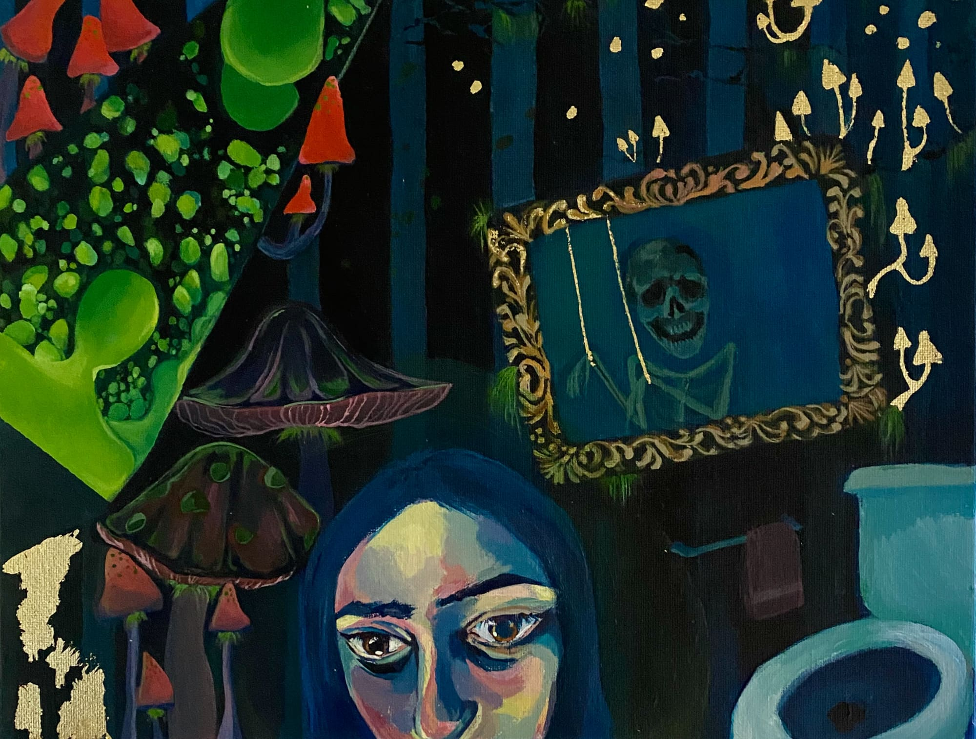 A painting of person in a bathroom and forest, a work by Chayna Yoshida